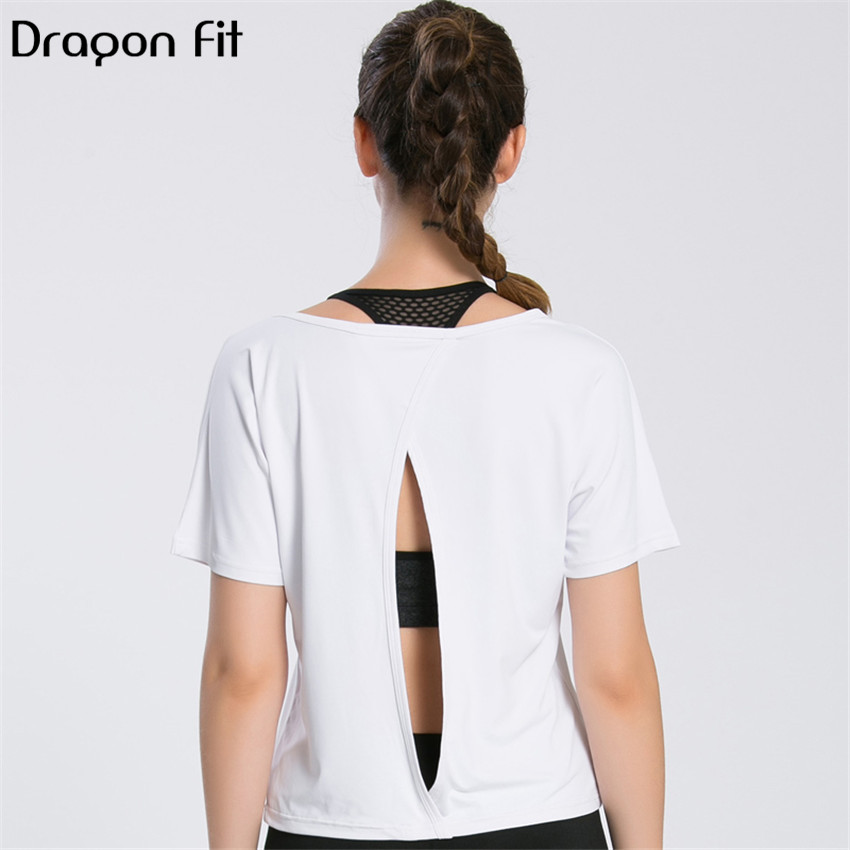 Dragon Fit Hollow Out Breathable Loose T Shirt Women Sport Quick Drying Short Sleeve Fitness T Shirt Pure Color Round Neck Tops