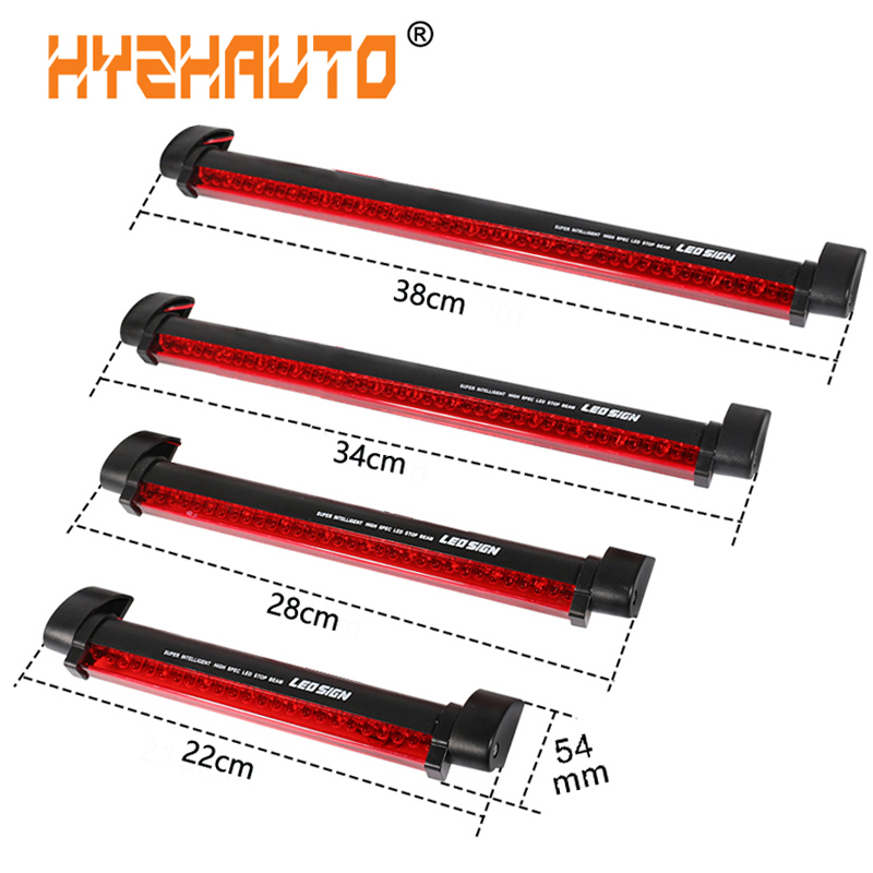 HYZHAUTO 1Pcs 12V Red Car LED Third Brake Lights Bar Rear Parking Signal Lamp Truck High Mount Stop Warning Light Universal
