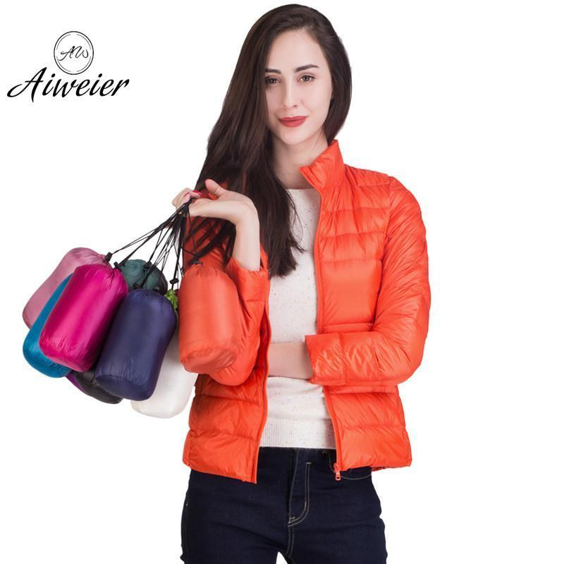 [Aiweier] Womens   Down   Jackets Brands New Autumn Winter Short Thin Stand Collar Zipper Korean Style Over Size Female   Down     Coats