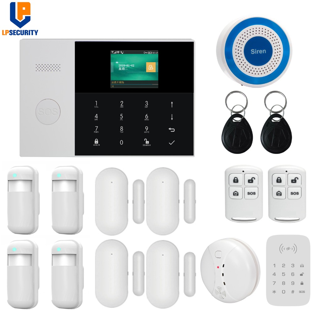 Dual network Wireless 433MHz WiFi GSM GPRS home Alarm system APP remote control with 2 4