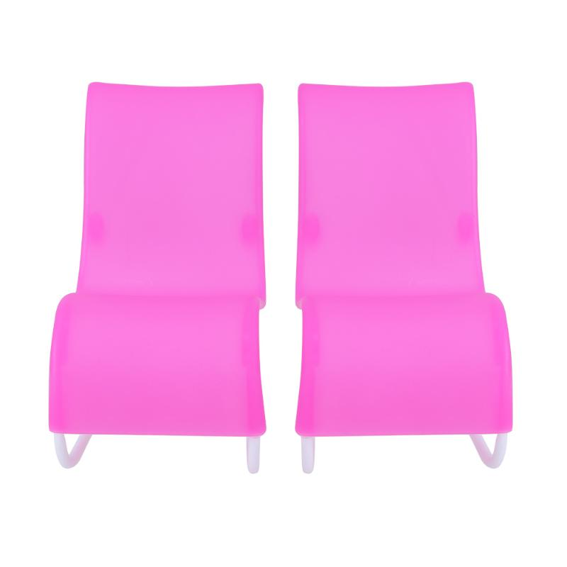 2pcs Doll Accessories Rocking Beach Lounge Chair for Barbie Doll Pink Chairs Dream House Livingroom Garden Furniture