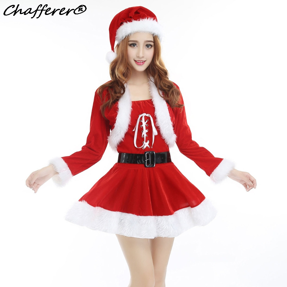 Christmas Party Dress Up Games: Women Lace Cute Shawl Dress Christmas Santa Claus Cosplay