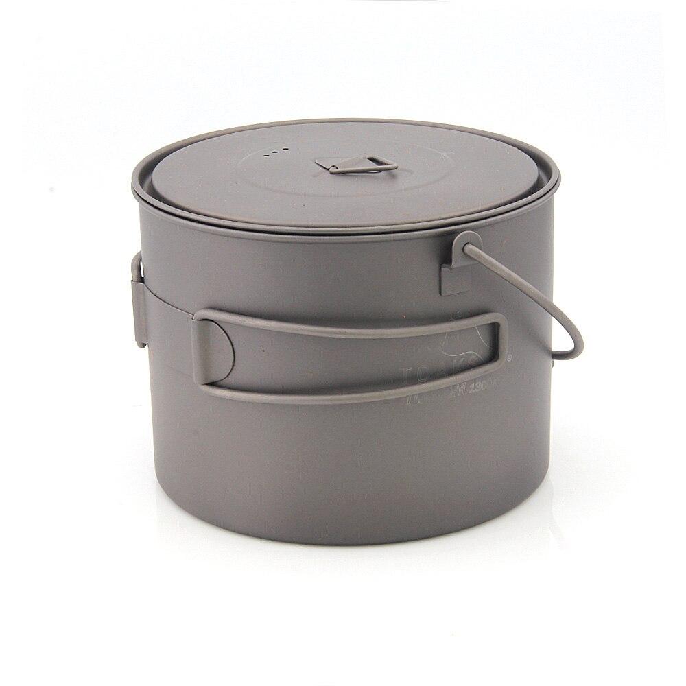 TOAKS POT-1300-BH titane bol titane Pot suspendu Pot avec couvercle extérieur Camping ustensiles de cuisine 1300 ml
