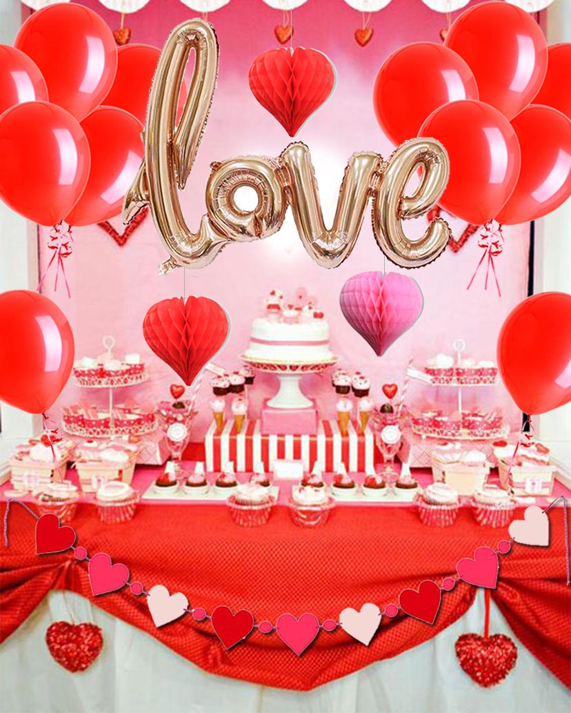 20pcs/set Valentines Day Decor Rose Gold Love Red Balloon Pink Heart Hanging Courtship Ceremony Banner Decorations