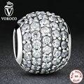 Acessórios originais 925 sterling silver pave checa bola bead charme fit pandora pulseira com limpar zircon jóias diy s069