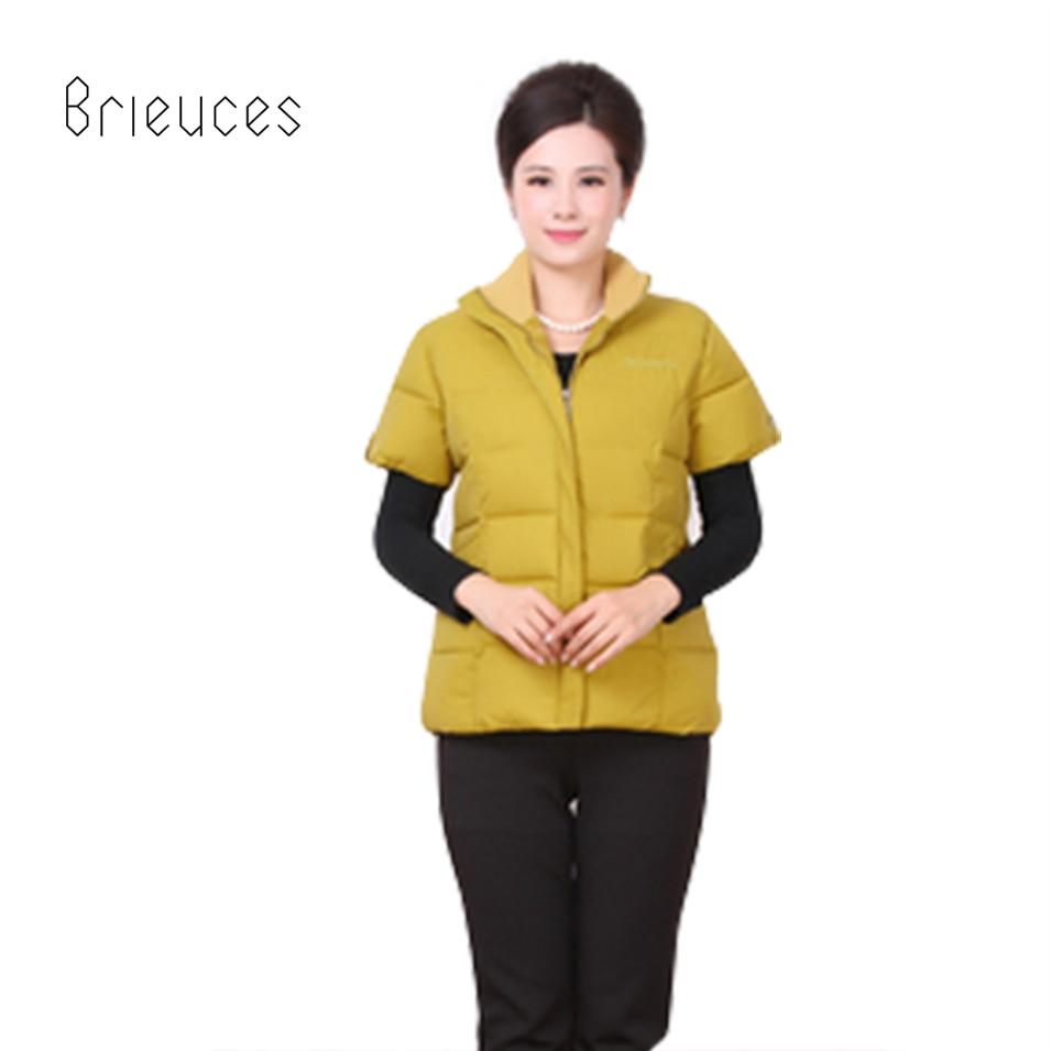 Brieuces podzimní zima plus velikost krátká polovina sieeve bavlněné vesty ženy ztlumit límec zip pevné příležitostné vesty ženy