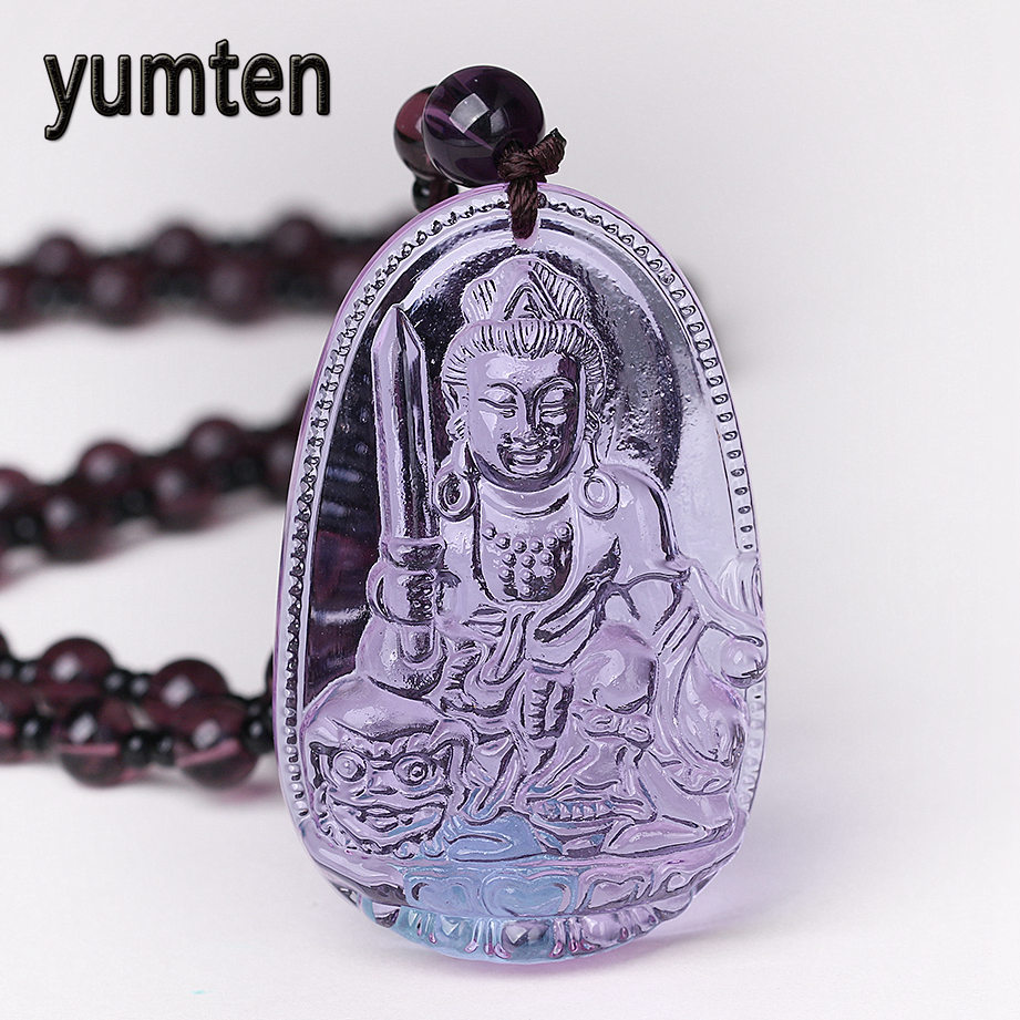 Yumten Amethyst Necklace Natural Stone Pendant Buddha Guardian Bead Chain Lucky Gift Crystal Carved Women Jewelry