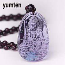 Yumten Amethyst Necklace Natural Stone Pendant Buddha Guardian Bead Chain Lucky Gift Crystal Carved Women Jewelry Men Gothic Fox