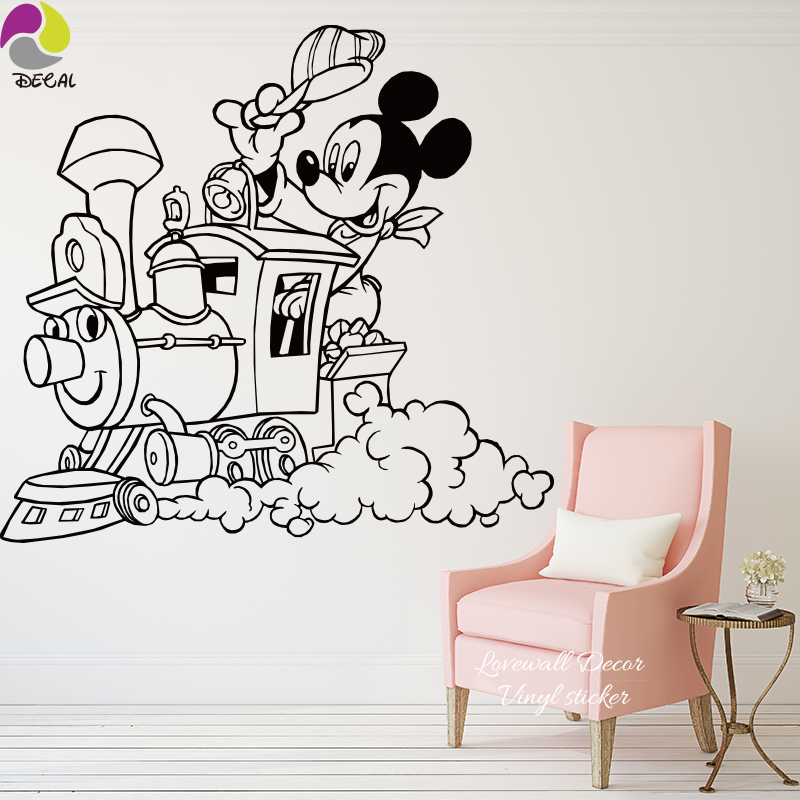 Aliexpress.com : Buy Baby Nursery Cartoon Train Cloud Mickey Mouse Wall  Sticker Cute Animal Train Traffic Wall Decal,Easy Wall Art Mural Poster  Vinyl From ... Part 93