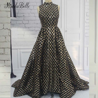 modabelle Sequin Black And Gold Evening Dress Saudi Arabia 2018 Luxury High Neck Shiny Formal Dress Arab Women Prom Gowns