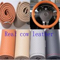 Real Genuine Leather good quality unviersal Steering Wheel Cover Free shipping 36/38/40cm