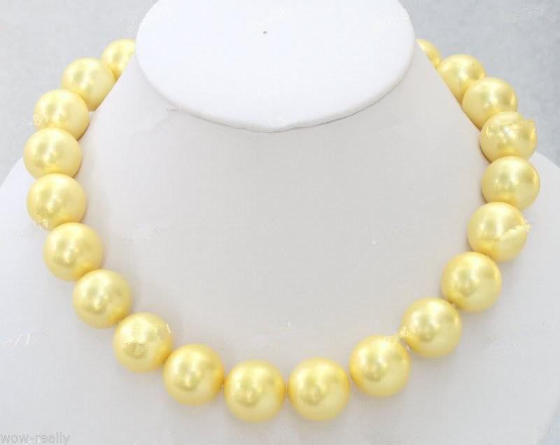 Offre spéciale nouveau Style>>>>> Rare énorme 18mm jaune mer du sud coquille perle ronde collier de perles 18