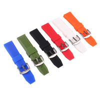 Silicon Rubber 16mm 18mm 20mm 22mm 24mm Bright Colored Solid Watch Multi Color Army Military Watchbands
