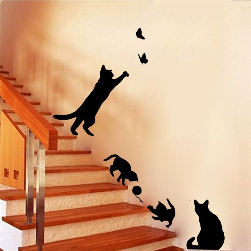 New Arrived Cat play Wall Sticker Butterflies Stickers Decor Decals for Walls ვინილის ამოღება Decal / Wall Murals