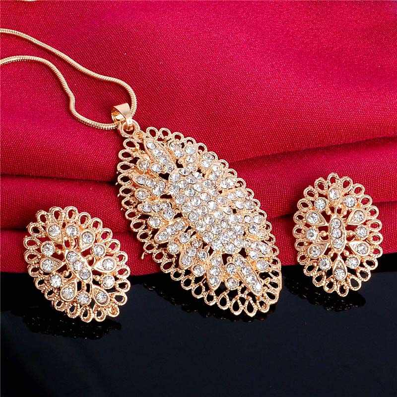 H:HYDE New Austrian Crystal Jewelry Set for Women Gold Color Oval Hollow Style Pendant/Earrings Sets parure bijoux femme