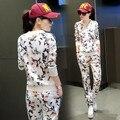 Survetement 2016 Новый Печати Толстовки Женщины Повседневная Футболка Мода О-Образным Вырезом Костюм Женщин Костюм Из Двух Частей Набор