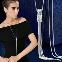 Rhinestone Statement Tassel Long Necklace Women Pendants New Fashion Jewelry Wholesale Sweater Necklaces Gifts
