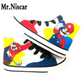 High Top Lace-Up Super Mario Bros Adults Graffiti Flat Shoe Hand Painted Canvas Shoes Men Fashion Shoes for Couples