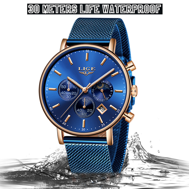 LIGE Watches Mens Top Brand Luxury Blue Casual Mesh Belt Watch Fashion Sport Watch Men Waterproof Quartz Clock Relogio Masculino