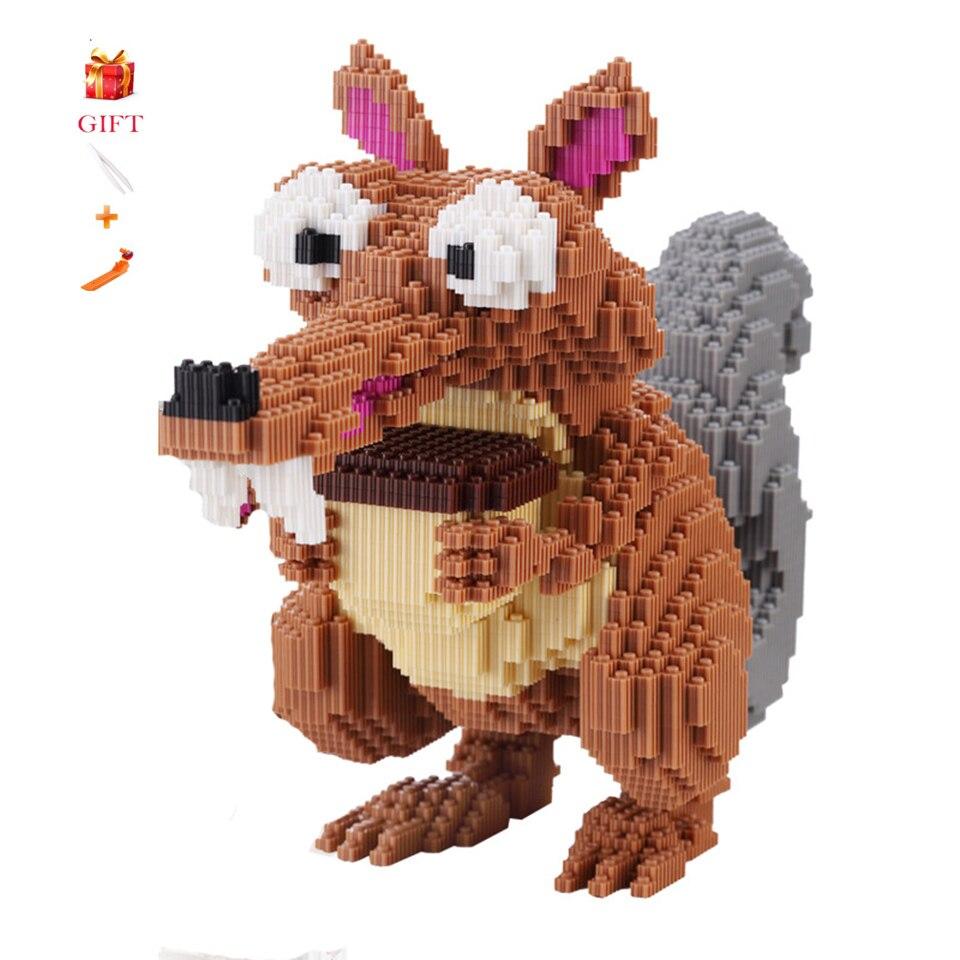 Dessin animé de grande taille Scrat gland 3D assembler écureuil modèle Micro blocs de construction jouets éducatifs animaux pour les enfants