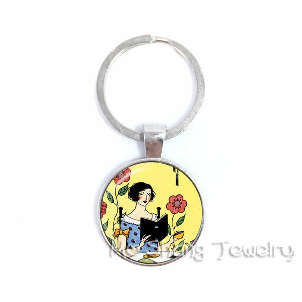 Library เครื่องประดับ Bookworm Key แก้ว Cabochon Book Key Chain แหวนผู้หญิงอ่านหนังสือภาพกระเป๋าพวงกุญแจบรรณารักษ์ของขวัญ