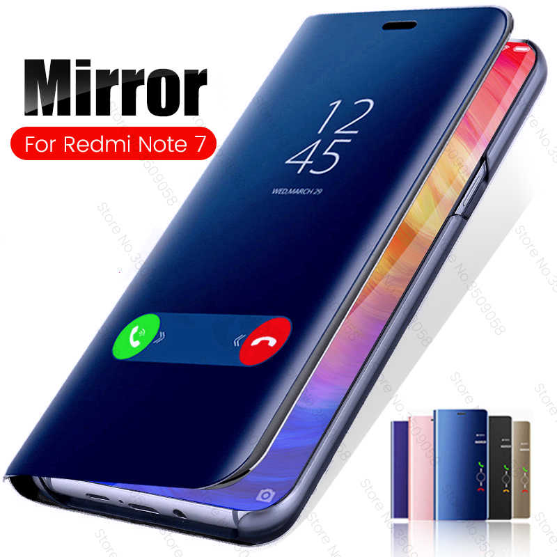 Mirror Smart Flip Phone Case For Xiaomi Redmi Note 7 Cover Cases Xiomi Xaomi Xiami Redmi Note 7 Pro Note7 Note7Pro Standing Case