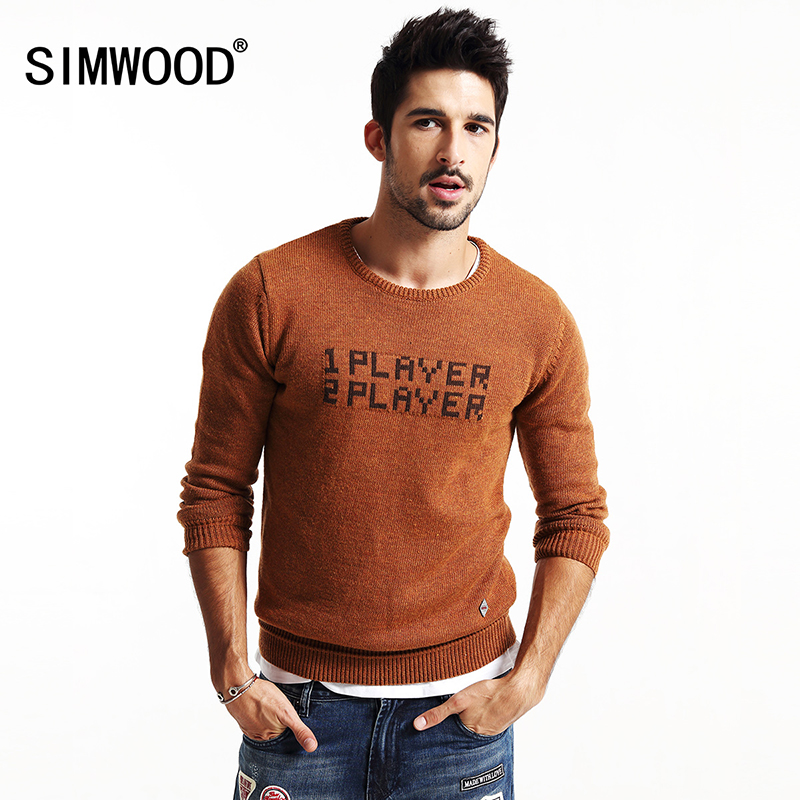 SIMWOOD 2017 new autumn winter letter sweater men pullovers brand clothing long sleeve fashion MY2036