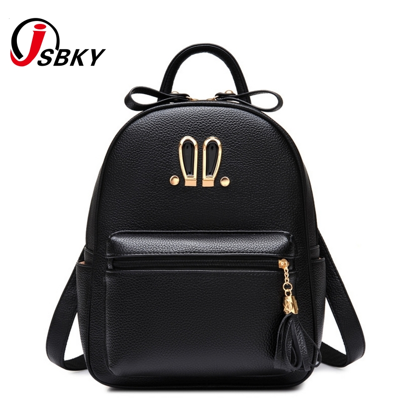 fb40f96f75 JSBKY Brand Cute Rabbit Women Backpacks Pu Leather Schoolbags For Teenage  Girls High Quality School Backpack