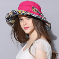 2016 Diseño de Moda Flor Plegable de Ala Ancha Sombrero para el Sol Sombreros de Verano para Las Mujeres Al Aire Libre Protección UV