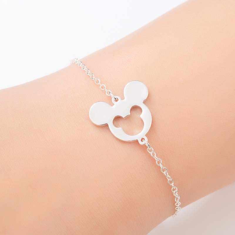 Yiustar ze stali nierdzewnej Cartoon Mickey wisiorki bransoletki biżuteria dziewczęca dla kobiet śliczne mysz bransoletki bransoletki dziecko Pulseras prezent