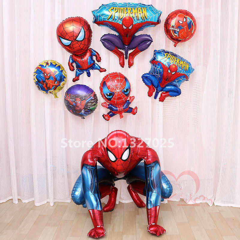 Large Spiderman Foil Balloons Big Spiderman Birthday Decorations Ballons Kids Baby Boy Party Decoration Toys Air Balls baloes