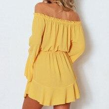 Solid Flare Sleeve Slash-Neck Off Shoulder Club Party Mini Dress