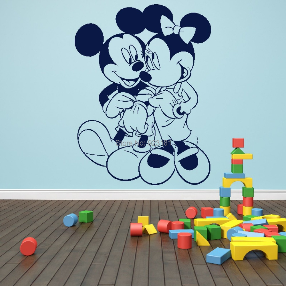 Mickey and minnie wall stickers home design mickey minnie mouse love silhouette wall art stickers decal home diy decoration wall mural bedroom decor amipublicfo Image collections