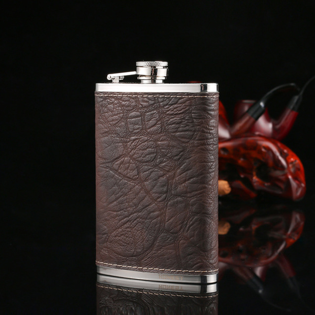 2017 stainless cigar tube  Mini Flagon  paste 304  hip flask leather  portable outdoor supplies 9 ounce cost price alcohol