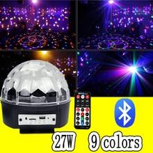 27 Вт светодио дный Bluetooth волшебный шар Диско DJ дистанционного управления шар света сценический эффект soundlights Рождественский проект лазерного Вечерние огни