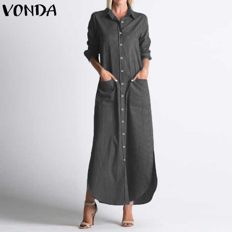 7d7f1b8b Women Shirt Dress 2018 Autumn Lapel Neck Long Sleeve Striped Long Party  Dresses Casual Buttons Split