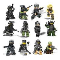 12Pcs Lot Swat Police Military Figures Soldier Team With Weapons Army Assault Game Building Brick Block