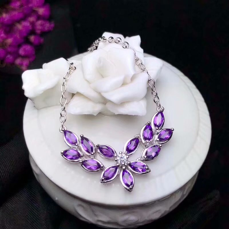 Natural amethyst Necklace natural crystal Pendant Necklace S925 silver trendy Elegant Water droplets women party gift Jewelry недорго, оригинальная цена