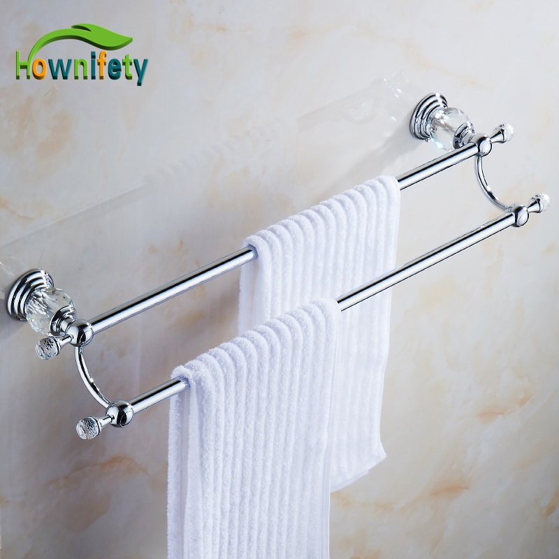 Solid Brass Bathroom Towel Rack Single Towel Bar Bathroom Accessories with Crystal okaros bathroom double towel bar 60cm towel rack towel holder solid brass golden chrome plating bathroom accessories