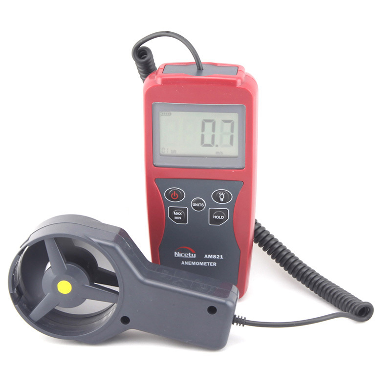 Digital anemometer, AM821 handheld measuring instrument, high precision wind speed and air temperature tester