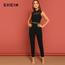 SHEIN Black Constract Lace Bodice Open Back Halter Skinny Mid Waist Sleeveless Jumpsuit