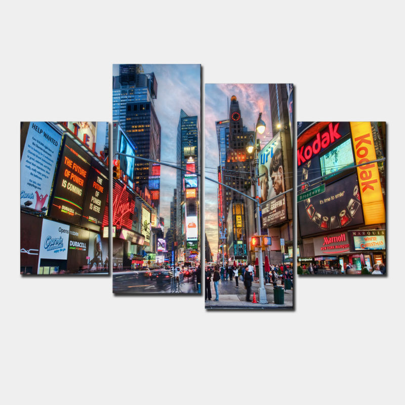 Large Framed Wall Art New York City Landscape Sunset: Fashion Abstract New York Buildings Oil Painting Color