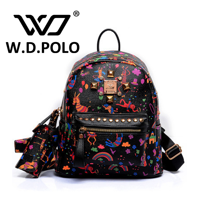 W.D. POLO Women's Leather Stud and Lock backpack high chic design lady shoulder bag girls rivet school bags hot selling M2195