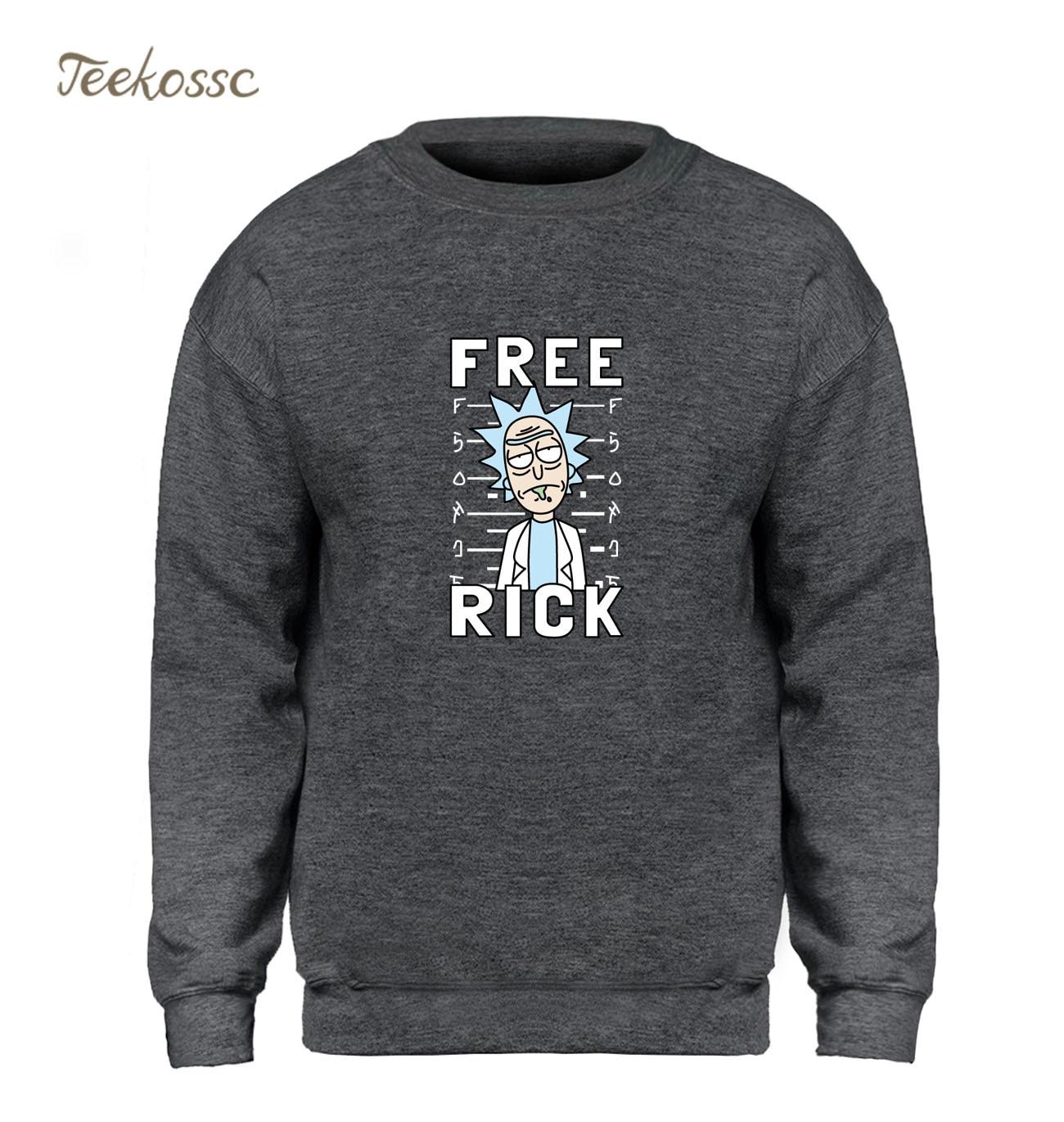 Rick and Morty Hoodie Free Rick Sweatshirt Men Funny Slim Sweatshirts 2018 Winter Autumn Fleece Warm Anime Balck Gray Streetwear