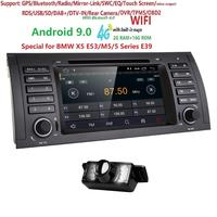 2din автомобильный Радио dvd gps android 9,0 1024*600 четырехъядерный для BMW E39 E53 M5 (1996-2007) с Bluetooth Phonelink BT 1080P DAB + карты