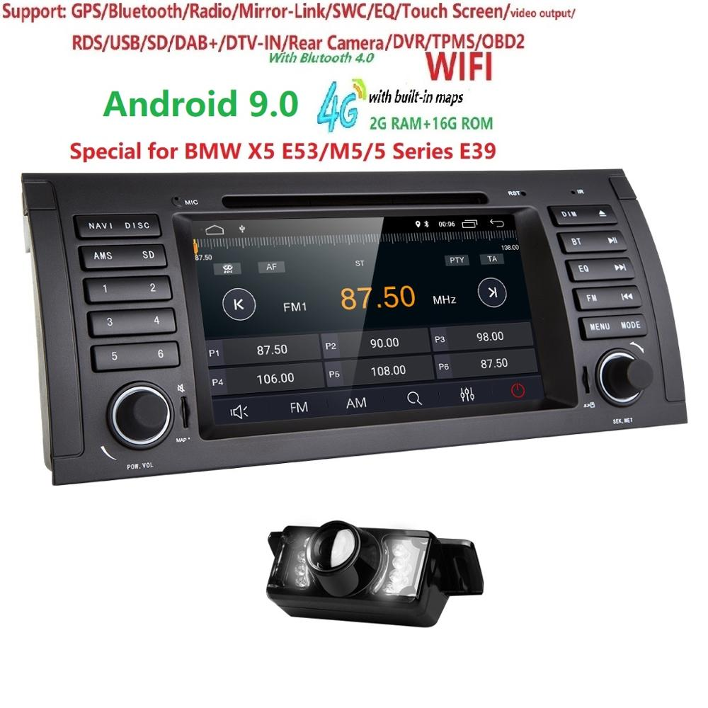 2din autoradio dvd gps android 9.0 1024*600 Quad core pour BMW E39 E53 M5 (1996-2007) avec Bluetooth Phonelink BT 1080P DAB + Maps