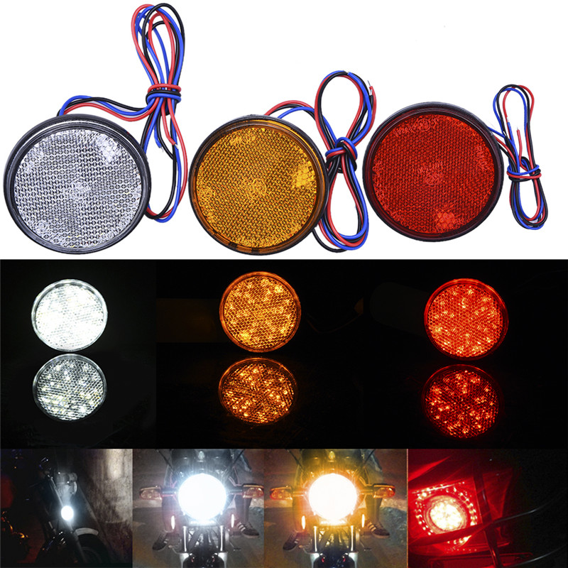 GERUITE White/Yellow/White 24 SMD Car Round Tail Lights Turn Singal Light Lamp ATV LED Reflectors/Truck Side Warning Light Bulbs white