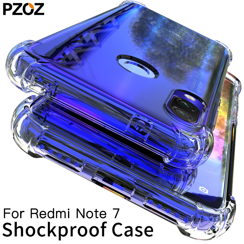 PZOZ For Xiaomi Redmi Note 7 Case Cover Silicone Shockproof Redmi 7 Note 7 Pro Transparent Protective Xiomi mi 9t note7 K20 case iphone xr case magnetic