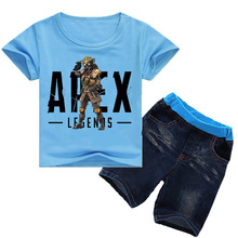 Z&Y 2-16Y 2019 Summer Apex Legends Tshirt Shorts Toddler Boy Clothes Girls Short Sets T-shirt Jeans Fashion 2pcs Suit
