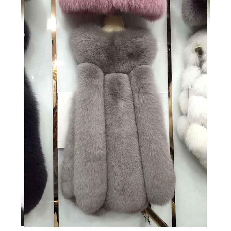 Cuir, renard, gilet poilu, femme, hiver 2017, nouveau manteau de fourrure importé, nouvelle version de big drop.